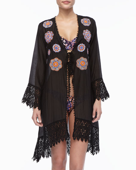 Crochet-Trim Embroidered Coverup