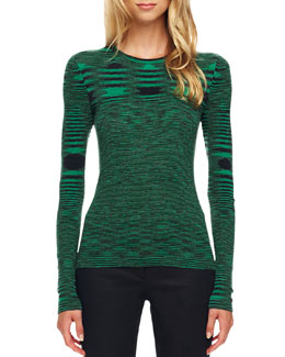 Michael Kors Space-Dye Cashmere Sweater, Emerald