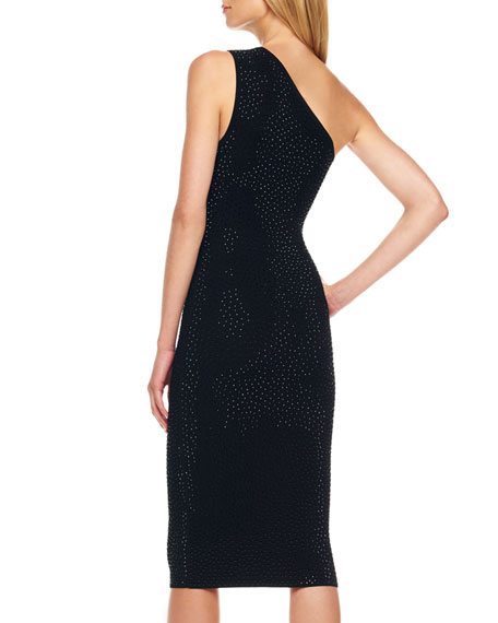 One-Shoulder Studded Dress, Black