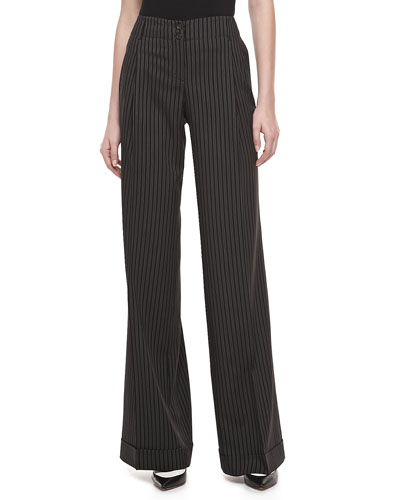 Michael Kors Morning Striped Wool Wide-Leg Pants