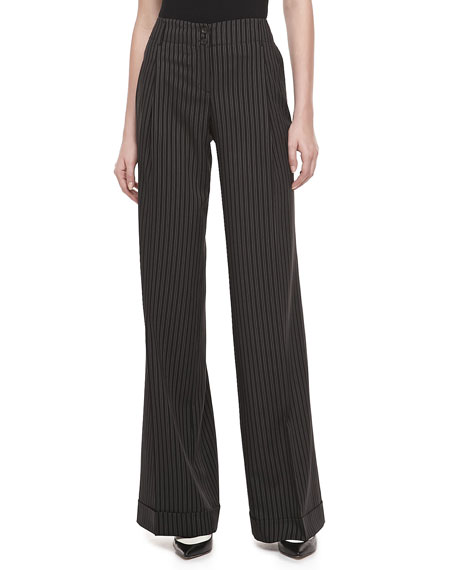 Morning Striped Wool Wide-Leg Pants