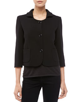 Michael Kors Boucle Three-Button Jacket