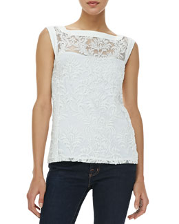 Nanette Lepore Be Happy Sleeveless Embroidered-Overlay Top