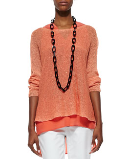 Eileen Fisher Linen Knit Mini Tape Box Top, Papaya