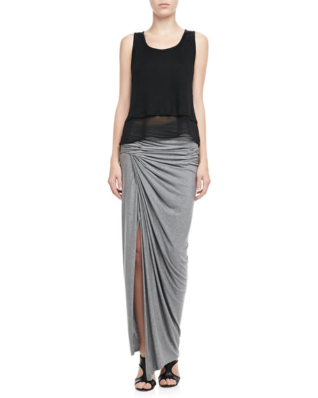 Kay Ruched Slub Maxi Skirt