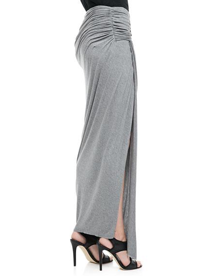 Kay Ruched Slub Maxi Skirt