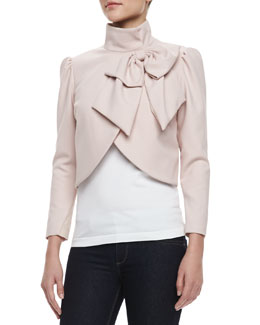Alice + Olivia Addison Bow Cropped Jacket, Pink