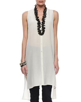Eileen Fisher Silk V-Neck Long Dress