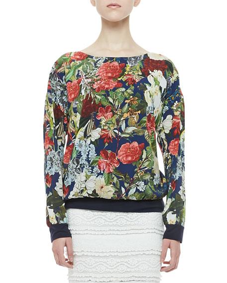 Floral-Print Silk Sweatshirt