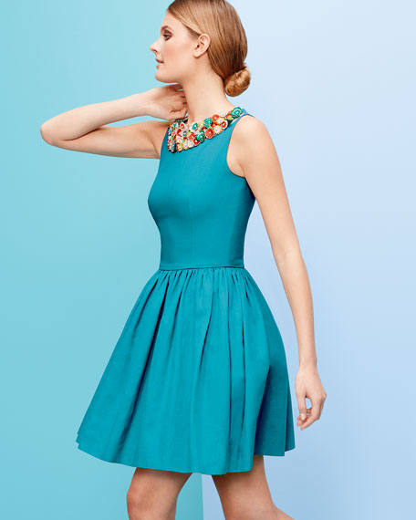 Pique Dress with Leather Floral Neckline