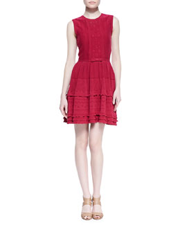 RED Valentino Embroidered Knit Dress, Bougainvillea