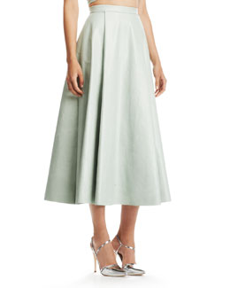 Alice + Olivia Daven Long Leather Skirt