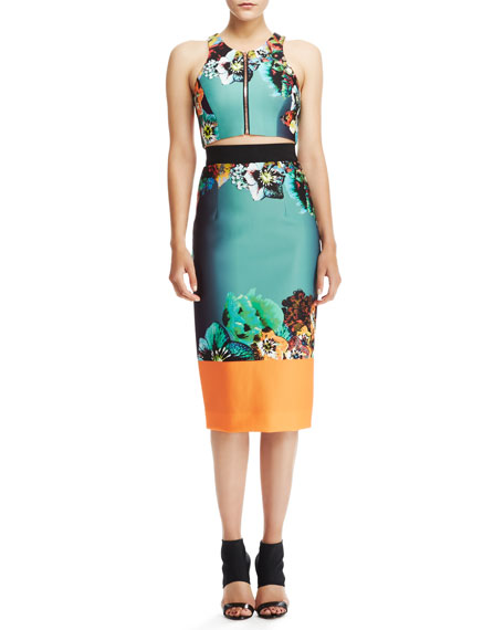 Printed Sateen Pencil Skirt