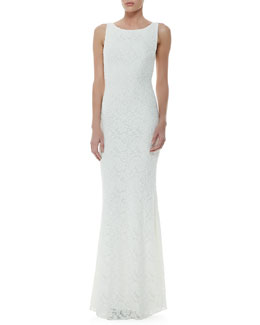 Alice + Olivia Sachi Open-Back Lace Gown, Ivory