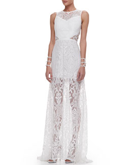 Alexis Everly Lace Open-Back Maxi Dress