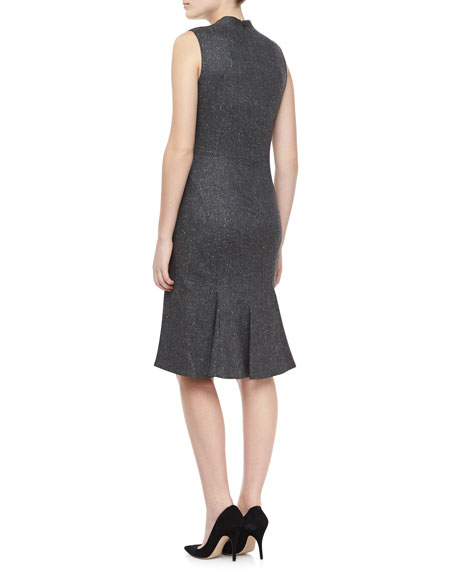 Cap Sleeve V Neck Dress, Gray Heather