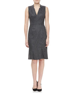 Zac Posen Cap Sleeve V Neck Dress, Gray Heather