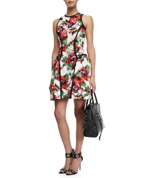 Floral-Print Paneled Party Dress