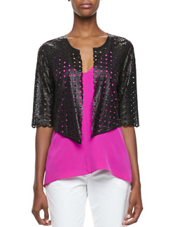 Milly Laser-Cut Leather Jacket