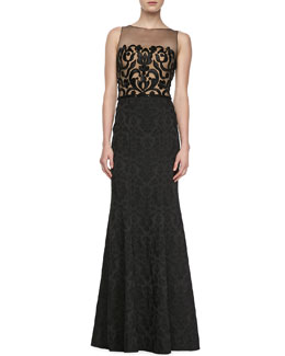 David Meister Signature Sleeveless Lace Illusion Bodice Gown