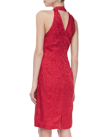 Jacquard Halter V-Neck Cocktail Dress, Red