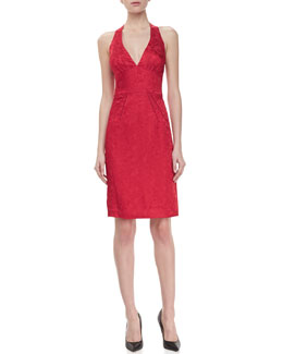 Zac Posen Jacquard Halter V-Neck Cocktail Dress, Red