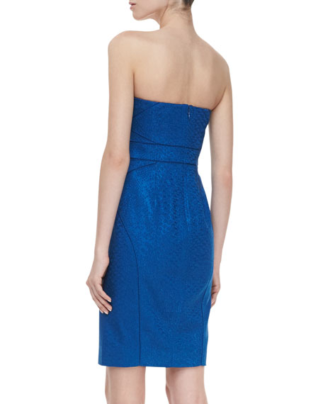 Strapless Cocktail Dress, Bright Blue