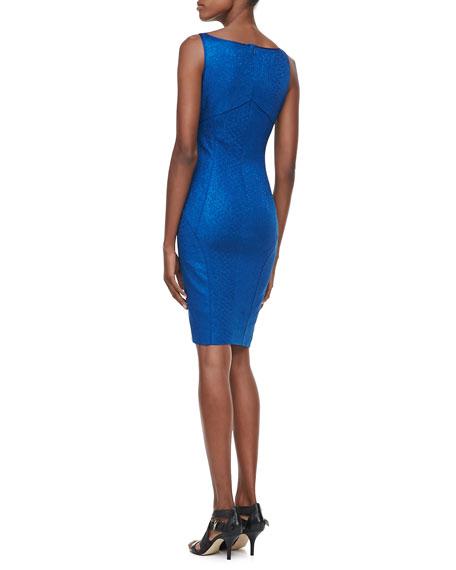 Snakeskin Jacquard Sleeveless V-Neck Party Dress, Blue
