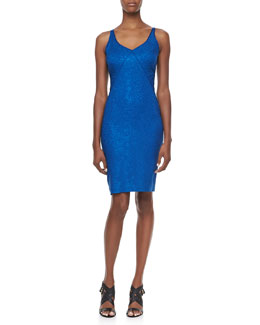 Zac Posen Snakeskin Jacquard Sleeveless V-Neck Party Dress, Blue