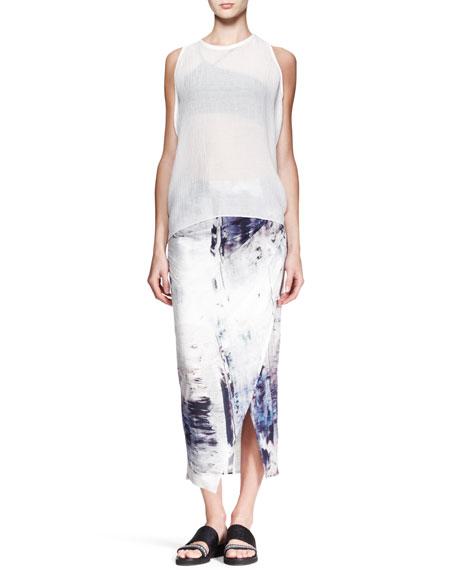 Tidal Printed Asymmetric Skirt
