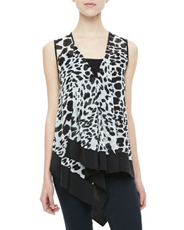 Robbi & Nikki Animal-Print Handkerchief Top
