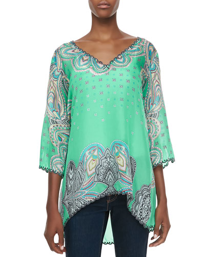 3/4-Sleeve Printed V-Neck Tunic