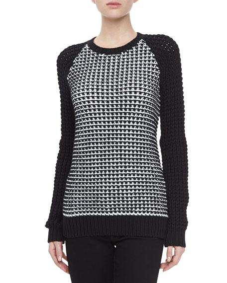 Birdseye Crochet-Knit Pullover Sweater
