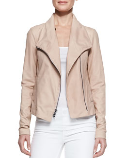 Vince Leather Scuba Shawl-Collar Jacket, Blush