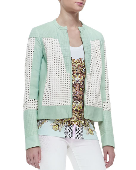 Perforated Lambskin Leather Jacket, Mint/White