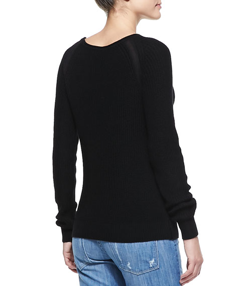 Suspension Raglan-Sleeve Knit Sweater, Black