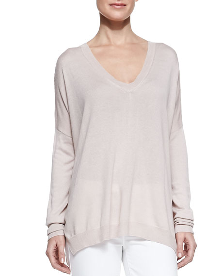 Silk/Cashmere V-Neck Sweater, New Buff