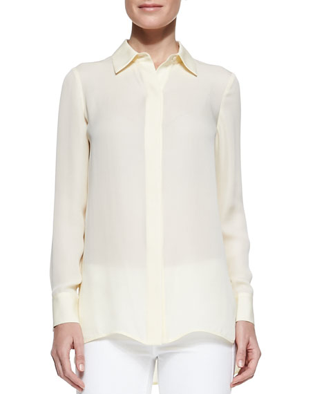 Georgette Button-Down Blouse, Buttercup