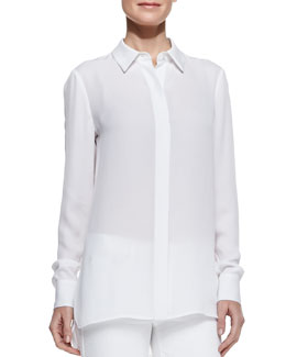 Vince Georgette Button-Down Blouse, White