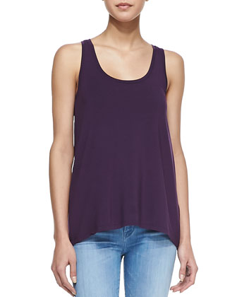 Loose Sleeveless Jersey Tank, Grape