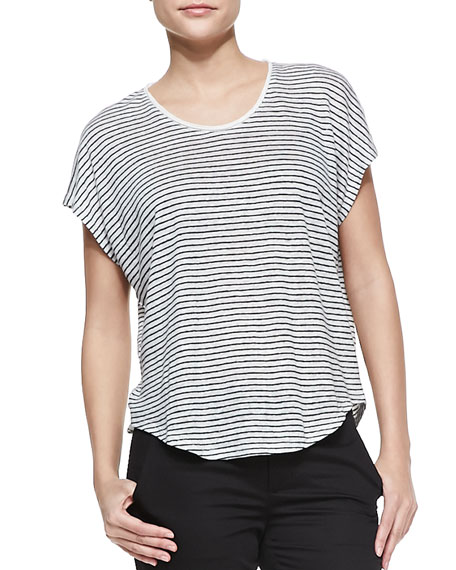 Striped Linen-Slub Top, Magnolia