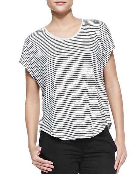 Striped Linen-Slub Top, Magnolia