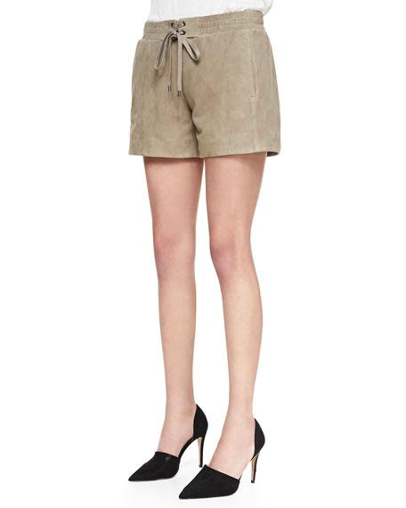 Suede Drawstring Boxer Shorts