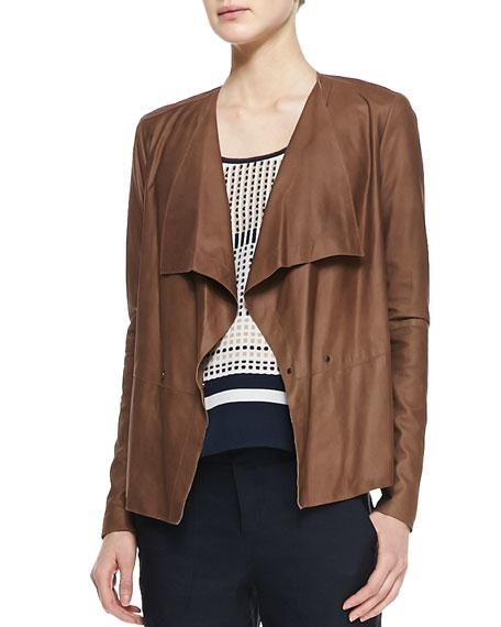 Draped Snap Leather Jacket
