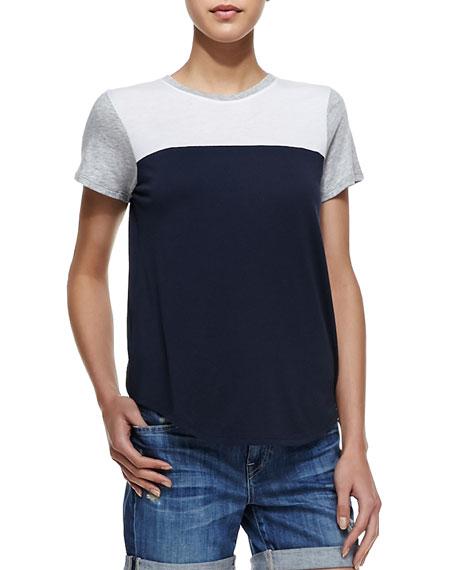 Colorblock Knit Short-Sleeve Tee, Coastal/Gray/White