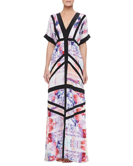 Floral Rise Maxi Coverup Dress