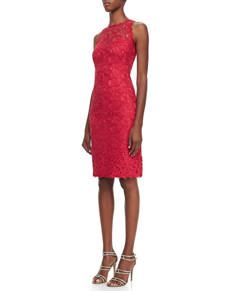 Sleeveless Lace Cocktail Dress, French Rose