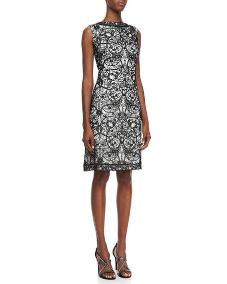 Lace-Overlay Cocktail Dress, Black/Ivory