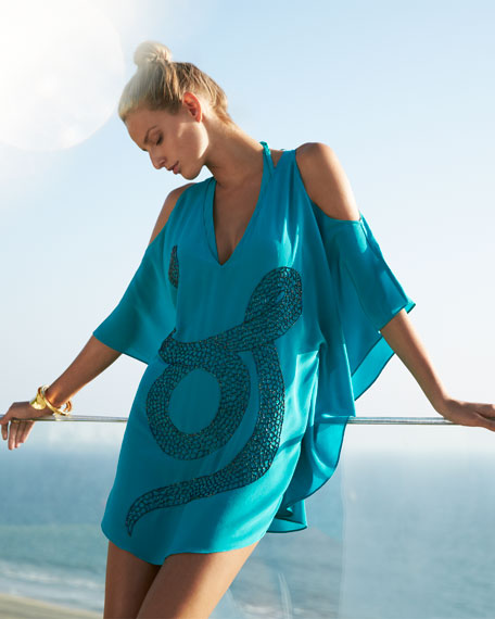 Zulu Lavinia Snake-Print Short Tunic Coverup, Emerald Green