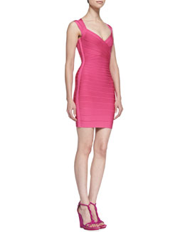 Herve Leger V-Neck Sleeveless Short Bandage Dress